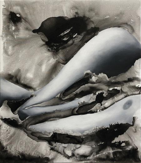 ohne Titel # Körper 4, Öl- und Wasserfarbe auf Leinwand, 70cm x 80cm, 2019