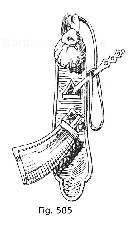 Fig. 583. Flaschenhangsel zur Bewahrung der Kugeln im Beutel, der Zündkrautflasche und des Spanners. Nach Schön, Geschichte der Handfeuerwaffen, Taf. 14.
