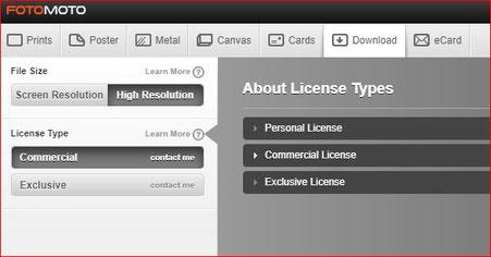 """Al clicar la opción """"Download"""" se consigue una descripción de los tipos de licencias y el proceso de compra."""