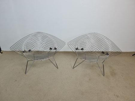 Harry Bertoia 2 fauteuils Diamant Large édition Knoll international