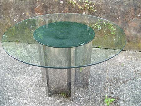 Table italienne acier inoxydable et plateau verre vers 1970