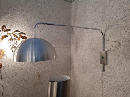 Applique télescopique en acier chromé et aluminium vers 1970
