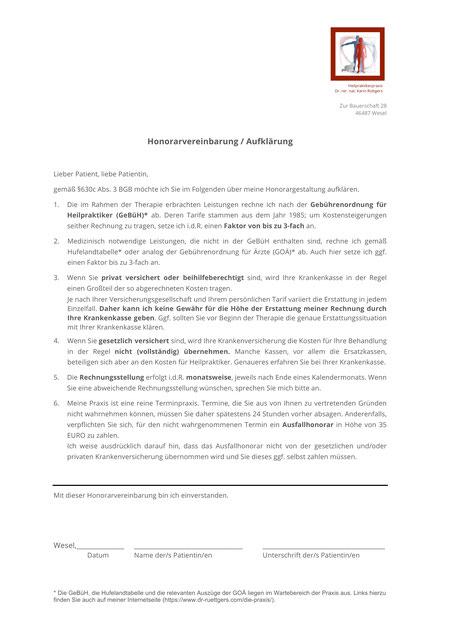 Honorarvereinbarung / Aufklärung für Patienten