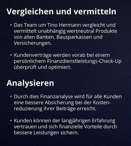 Tino Hermann unabhängige Finanzberatung -  vergleichen, vermitteln, analysieren
