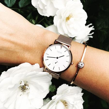 NOVS Uhr - Armbanduhr - Damen - Rosé mesh