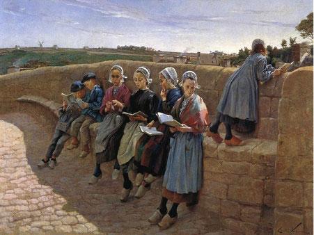 Émile Vernon, Bretonische Kinder, lesend (gemeinfrei)