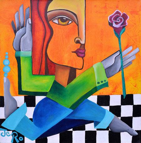 Julja sucht Romeo Acryl auf Leinwand 50 x 50