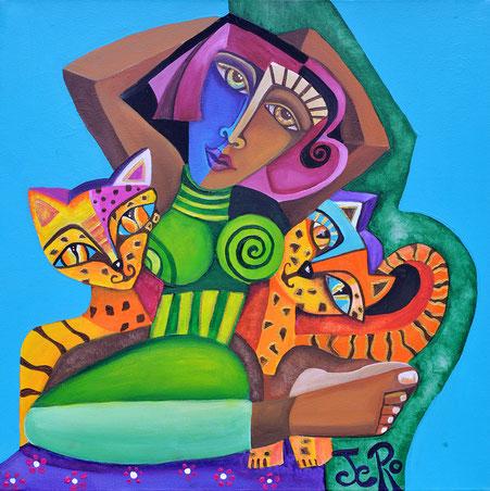Die Froschkönigin Acryl auf Leinwand  50 x 50