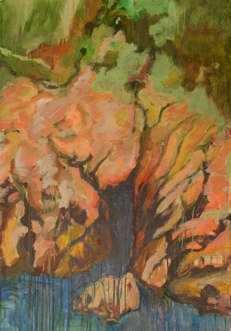 Falaise avec jaune cadnium, 2017 Acryl auf Leinwand 100x70