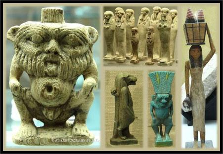 zweimal der kleine Gott Bes, mein ägyptischer Lieblingsgott, im Profil die Nilpferdgöttin Toeris und kleine Statuetten aus dem MAK - Bes war der Schutzgott für die Nacht und deren Aktivitäten, Toeris beschützte Geburt und Tod