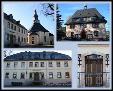 Motive für die Seiffener Holzkunst: die Kirche, das Bürgermeisteramt und die alte Schule
