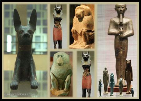 Totengott Anubis als Schakal - Gott Thot als Pavian (weil er so schön ist: der grüne ist ein Urlaubssouvenir und nicht aus dem MAK) - elegant: Göttin Bastet in Katzengestalt