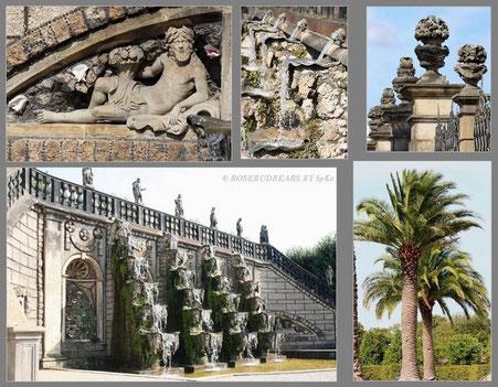 Palmen am Tor zwischen Schloss und Garten und große Kaskade rechts neben dem Tor