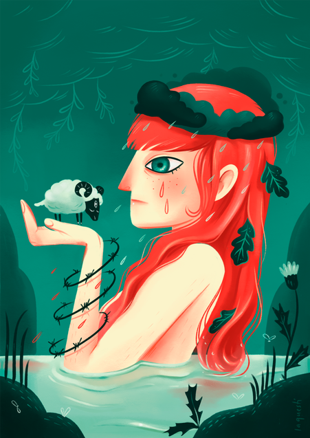 Illustration, red hair woman, Woods, Irland, Goddess
