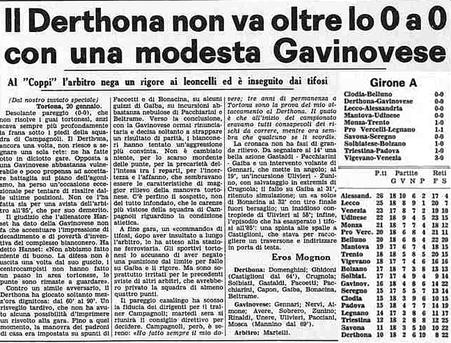 1973-74 DERTHONA - NOVESE 0-0