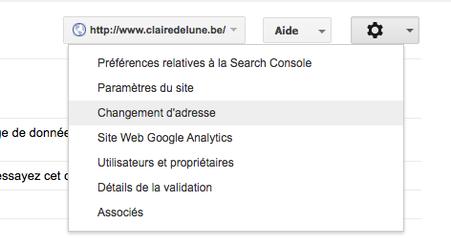 La Search Console de l'ancien site pour le changement d'adresse
