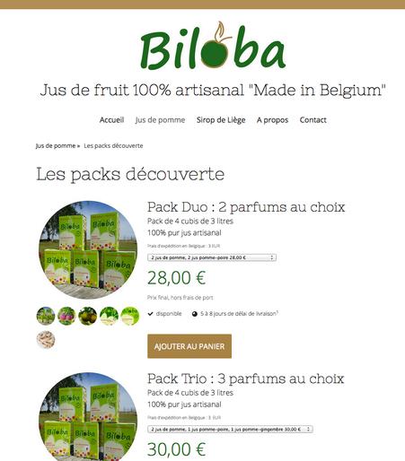 Biloba : une page produit
