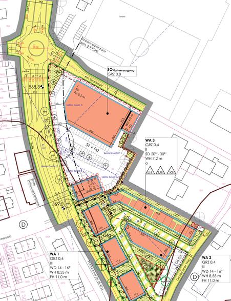 Skizze des Bebauungsplans, vom Bauausschuss beschlossen am 25.07.2019