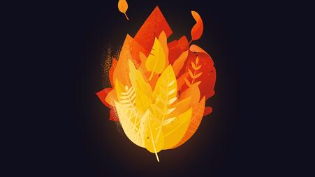 Unsere Erde brennt - Flamme aus Blättern © Michael Stünzi