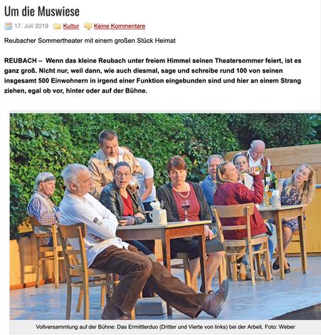 Fränkischer Anzeiger: Artikel zur Aufführung am 11. Juli 2019 - Seite 1