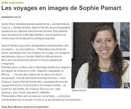 29/08/2015 : Les voyages en images de Sophie Pamart - La Nouvelle République Indre