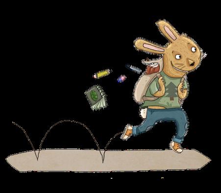 Cabochon du héros lapin qui bondit du projet de livre Pissenlit, le héros qui se prenait pour un grizzly illustré par Anne Derenne