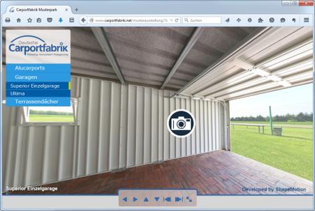 Virtuelle 3D Musterausstellung für Carports, Fertiggaragen und Terrassendächer