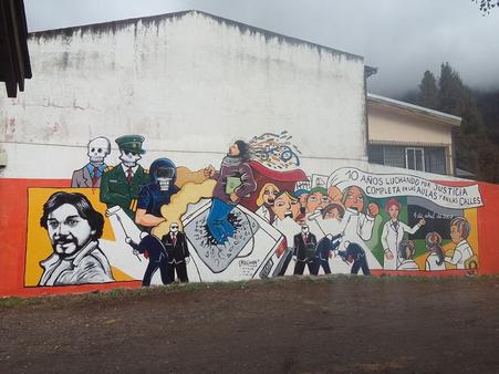 Mural restaurado a 10 años del asesinato de Carlos Fuentealba. San Martin de los Andes.