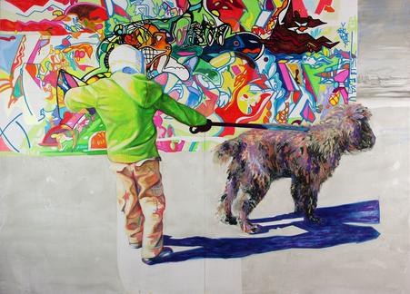 Spielendes Kind II, 2019. (Acryl / Farbstift / Holz, 100 x 140 cm)