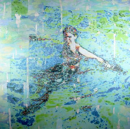 Große Badende, 2021. (Transfers / Acryl / Mischgewebe, 160 x 160 cm)