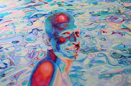 Mann am Meer, 2021. (Farbstift / HDF)