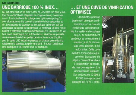 Article barrique inox Viti Janvier 2013