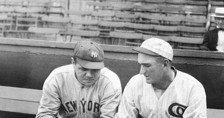 Shoeless Joe con Babe Ruth (Foto tratta dal sito www.shoelessjoejackson.com)