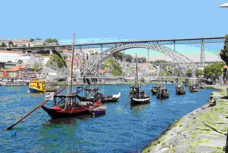 Die zweistöckige Stahlbrücke von Porto
