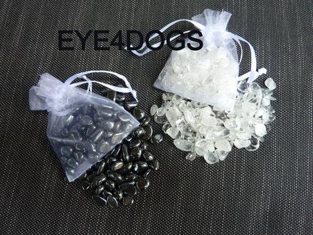 Reinigings/Oplaadset voor edelstenen bestaande uit Hematiet en Bergkristal