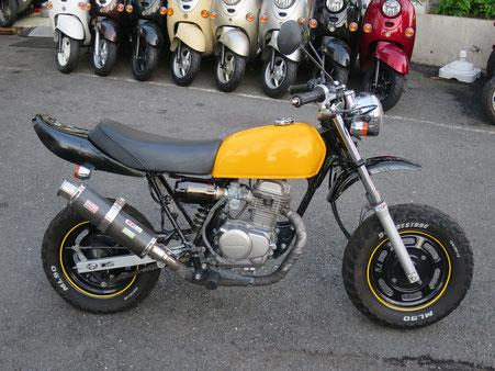 Ape50 黄色 カーボンマフラー