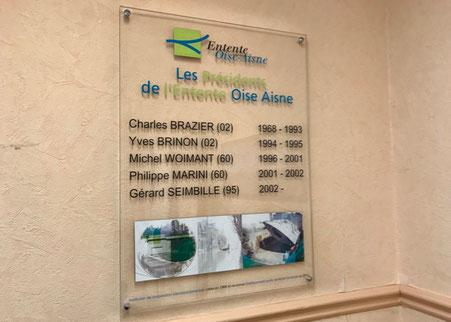 Les présidents de l'Entente Oise Aisne de 1968 à aujourd'hui. Panneau dans les locaux de l'établissement.