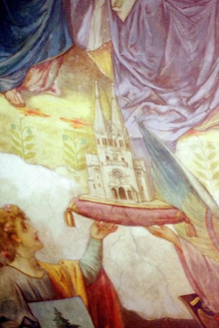 Zwei Engel halten die Wappen von Wien und Baumgarten.