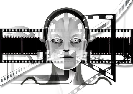 Figur in Projektorvorführung
