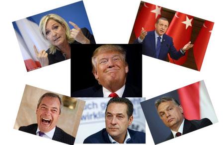 Portraits bekannter Populisten/Radikaler