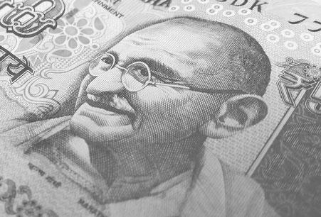 Portrait von Mahatma Gandhi auf einem Geldschein