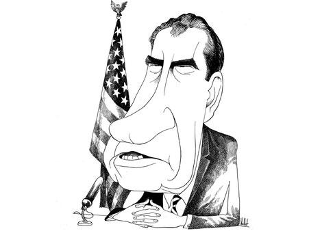 Karikatur von Richard Nixon