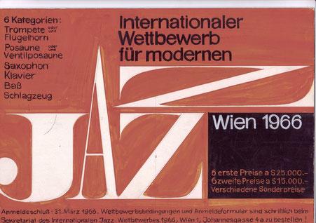 Heinz Traimer. Entwurf für den Jazz-Wettbewerb (Gulda) 1966 in Wien.