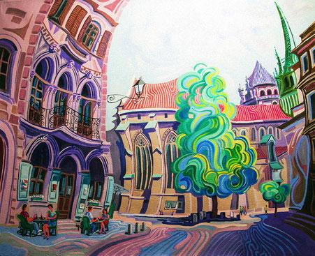 PLAZA DE LA TACONNERIE (GINEBRA). Oleo sobre lienzo. 81 x 100 x 3,5 cm.