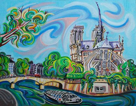 NOTRE DAME (PARIS). Huile sur toile. 51 x 71 x 3,5 cm.