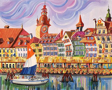 LUCERNA (LUCERNE). Oil on canvas. 81 x 100 x 3,5 cm.