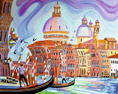 GRAN CANAL (VENISE). Huile sur toile. 81 x 100 x 3,5 cm.