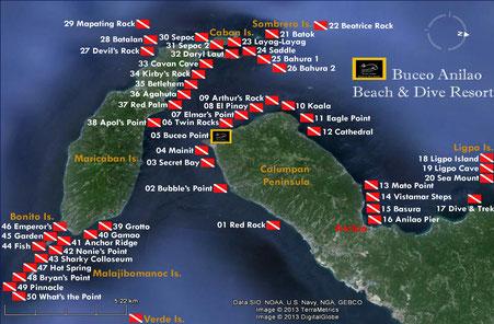 Dive sites Map