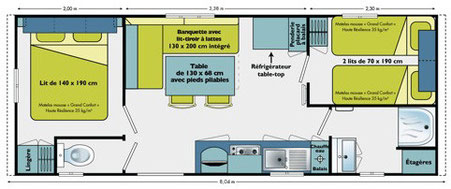 plan mobile home LAMPARO 23m2