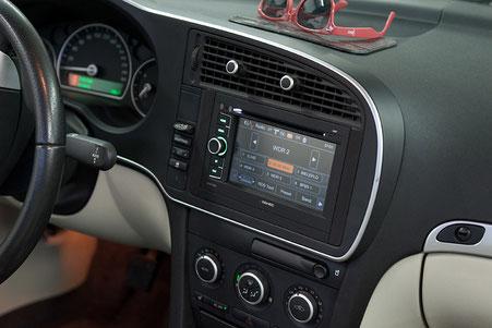 saab 9-3 cabrio mit zenec navigation plus dvbt tuner und umbau auf doppel-din-radioschacht